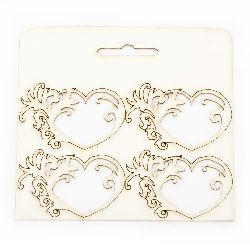 Set of elements of chipboard hearts with ornaments, delicate laser cut 4.5x7 cm