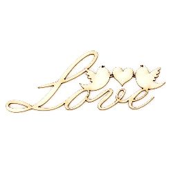 "Chipboard lettering ""Love"" with small bird 100x30x1 mm - 2 pieces"