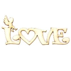 "Chipboard inscription ""Love"" with small angel 100x40x1 mm - 2 pieces"