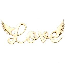 "Chipboard label ""Love"" for embellishment of cards, albums, frames 100x40x1 mm - 2 pieces"