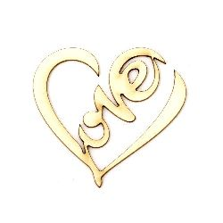 """Heart of chipboard with lettering """"Love"""", openwork 50x55x1 mm - 2 pieces"""