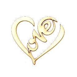 """Καρδιά με επιγραφή """"Love"""" χαρτόνι Chipboard  50x55x1 mm -2 τεμάχια"""
