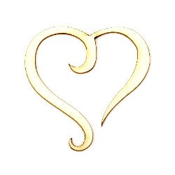 Heart from chipboard,  element for decoration of notebooks, frames, festive cards, boxes 50x50x1 mm - 2 pieces