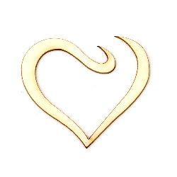 Heart from chipboard for handmade art projects with sprinkling with glitter, painting 45x50x1 mm - 2 pieces