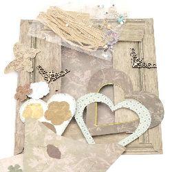 Set pentru realizarea și decorarea inimii cadrului din carton pentru fotografie 8.9x8.9 cm