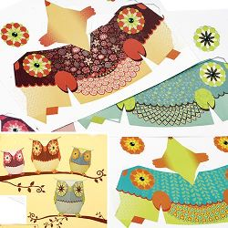 DIY Decoration Paper Set for making 4 owls