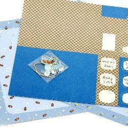 Scrapbook set de decorații Baby Boy -2 bucăți de hârtie design 12x12 inch, 1 forme ștanțate, accesorii
