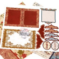 Scrapbook for decoration set Love -2 pieces of designer paper 12x12 inch, 1 piece of punched shapes, accessories