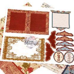 Scrapbook set decorare Love -2 bucăți de hârtie design 12x12 inch, 1 forme ștanțate, accesorii