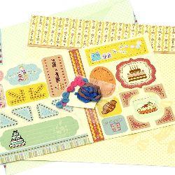 Scrapbook set de decorații My Wish -2 bucăți de hârtie design 12x12 inch, 1 forme ștanțate, accesorii