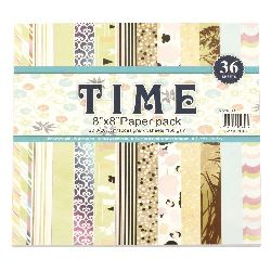 Designer scrapbooking paper 8 inch (20.3x20.3 cm) 12 designs x 3 sheets