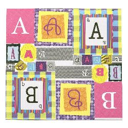 Designer scrapbooking paper 12 inch (30.5x30.5 cm) 13 sheets stamped self-adhesive alphabet