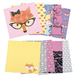 Designer scrapbooking paper 6 inch (15.2x15.2 cm) 12 designs x 3 sheets Foxy Lady