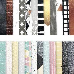 Designer scrapbooking paper 6 inch (15.2x15.2 cm) 12 designs x 3 sheets Mix Models