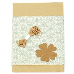 Gift wrapping set - kraft paper 50x70 cm, designer paper with ornaments green 50x18 cm, cotton cord 3 meters, tag clover - brown