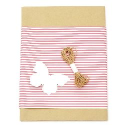 Gift wrapping set - kraft paper 50x70 cm, designer paper striped white and pink 50x18 cm, cotton cord 3 meters, tag butterfly