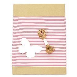 Комплект за опаковане на подарък -крафт хартия 50x70 см, дизайнерска хартия райе бяло и розово 50x18 см, шнур памук 3 метра, таг пеперуда