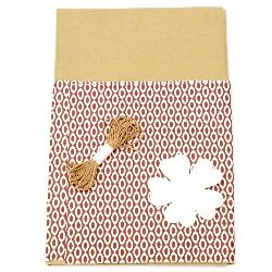 Gift wrapping set - kraft paper 50x70 cm, designer paper colored white and brown 50x18 cm, cotton cord 3 meters, tag clover - white