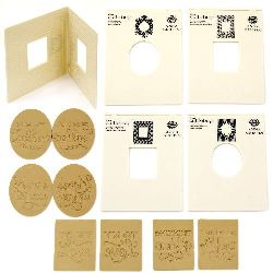 Set of Embossing Folders for Decoration 13.8x19 cm -4 designs with 12 removable inscriptions