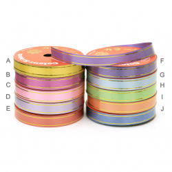 Ribbon Roll, DIY Decoration, Craft, Weddin 17 mm with gold MIX -7 meters
