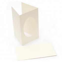 Bază felicitare 11x18 cm 200 g / m2 oval și plic passe-partout culoare FOLIA alb perlă -3 seturi