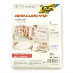 Bază  felicitare acordeon 4in1 10,5x15,5 cm 300 g / m2 cu plic A5 culoare FOLIA alb perlă -3 seturi