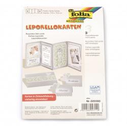 Felicitare acordeon bază 4in1 10,5x15,5 cm 300 g / m2 cu plic A5 FOLIA culoare argintiu -3 seturi