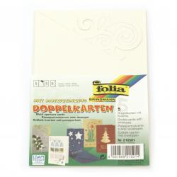 Bază felicitare cu inserție de motiv și plic 10.8x15.5 culoare FOLIA alb perlat -1 bucată