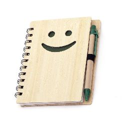 Notebook ECO hard cover with ECO pen for decoration spiral 70 sheets 12.5x15.7 cm