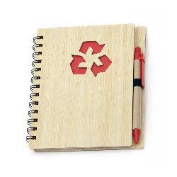 Σημειωματάριο 70 φύλλα 14.4x17.6 cm  με στυλό και εξώφυλλο από ανακυκλώσιμο υλικό