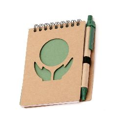 Notebook ECO soft cover with ECO pen for decoration spiral 70 sheets 10.1x13.7 cm