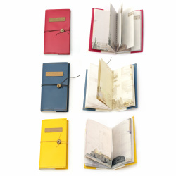 Vintage notebook with button and cord 105x184x18 mm -90 sheets
