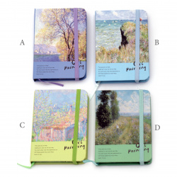 Beautiful notepad with elastic cord, 75x115x14 mm - 80 sheets