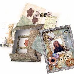 DIY Cardboard Photo Frame Set 15x17.7 cm Vintage