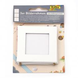 Картонена рамка квадратна сет 3 броя 7.5x7.5 см FOLIA с конопено въже висяща бяла