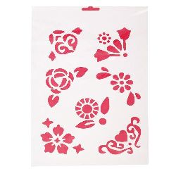 Plastic stencil for cutting and drawing Flowers DIY Decorative Painting Stencil, 21x31 mm motif 3