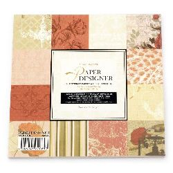 Designer scrapbooking paper set 6 inch (15.2x15.2 cm) 12 designs x 2 sheets and 2 stamped sheets