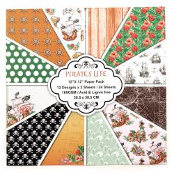 Дизайнерска хартия за скрапбукинг 12 inch (30.5x30.5 см) 12 дизайна x 2 листа