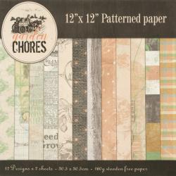 Χαρτί scrapbooking 160 g 12 ίντσες (30,5x30,5 cm) 12 σχέδια x 2 φύλλα Garden Chores