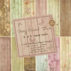 Дизайнерска хартия 160 гр за скрапбукинг, арт и крафт 6 inch (15.2x15.2 см) 12 дизайна x 2 листа Pretty painted floors