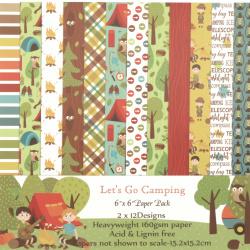 Дизайнерска хартия 160 гр за скрапбукинг, арт и крафт 6 inch (15.2x15.2 см) 12 дизайна x 2 листа Lets go camping