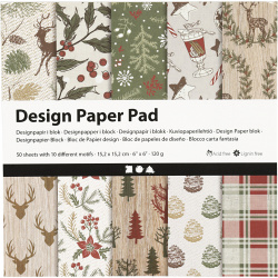 Дизайнерска хартия за скрапбукинг Коледни 6 inch (15.2x15.2 см) 120 гр Creativ 10 дизайна x 5 листа -50 листа