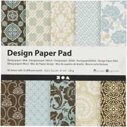 Дизайнерска хартия за скрапбукинг Light Blue, Brown 6 inch (15.2x15.2 см) 120 гр Creativ 10 дизайна x 5 листа -50 листа