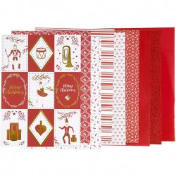 Дизайнерска хартия за скрапбукинг A4 (21x29.7 см) 120 и 128 гр Creativ цвят червен и бял -24 листа