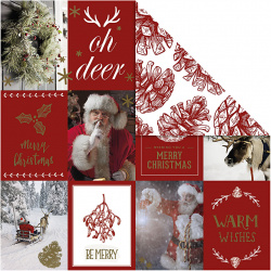 Χαρτί scrapbooking διπλής όψης Χριστουγεννιάτικα μοτίβα και κώνοι από Vivi Gade 180 g Creativ -3 φύλλα