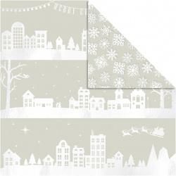 Χαρτί scrapbooking διπλής όψης Houses And Snowflake από Vivi Gade 180 g Creativ -3 φύλλα