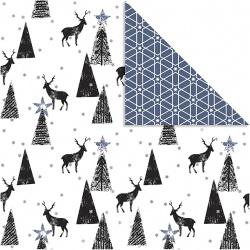 Дизайнерска хартия двустранен печат Deer And Pattern Black Silver White by Vivi Gade 180 g Creativ -3 листа