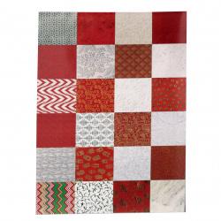 Албум дизайнерска индийска хартия 120 гр за скрапбукинг, арт и крафт 12 inch (30.5x30.5 см) Red and White 24 дизайна