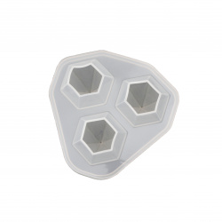 Silicon matriță /formă din 77x75x25 mm 3 diamante - 31x25 mm
