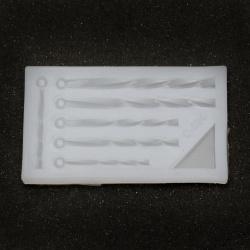 Силиконов молд /форма/ 35x65x60 мм висулки тръбички усукани бижутерски